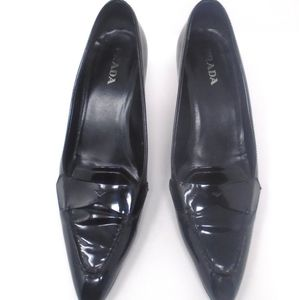 PRADA Black Patent Leather Loafer Pointy Heels